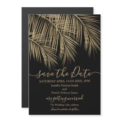 Gold palm tree leaf tropical black save the date