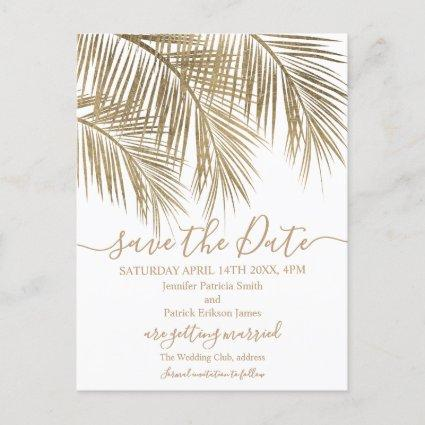 Gold palm tree leaf tropical script save the date announcement