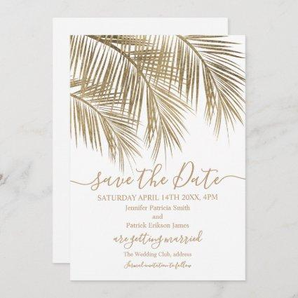 Gold palm tree leaf tropical white save the date