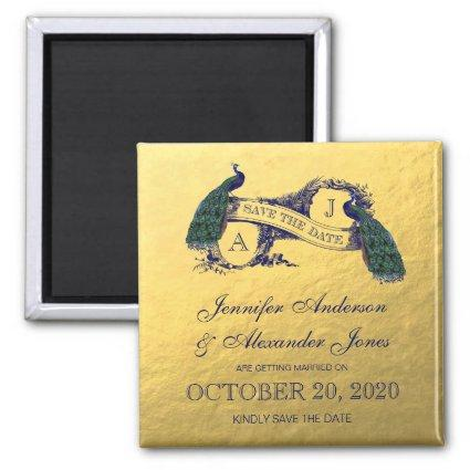 Gold Peacock Save the Date Magnet