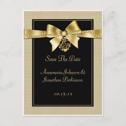 Gold Pearls Ribbon on Black Save The Date Announcement