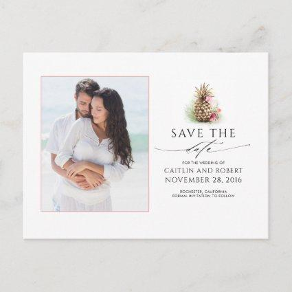Gold Pineapple Photo Save the Date Announcement
