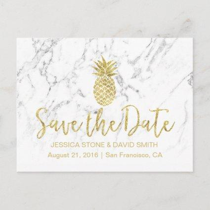 Gold Pineapple White Marble Wedding Save the Date Announcement