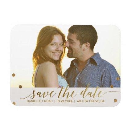 Gold Polka Dots Save the Date Magnets