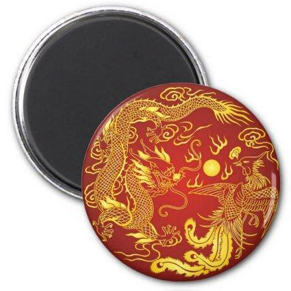 Gold Red Dragon Phoenix Chinese Wedding Favor Magnets