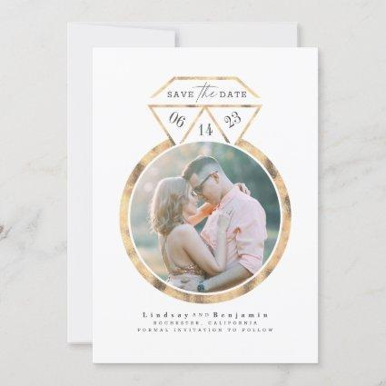 Gold Ring Modern and Elegant Save the Date Photo