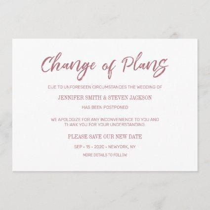 Gold Rose Handwriting Change of Plans Announcement