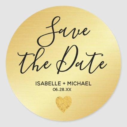 Gold Save the Date Envelope Seals with Heart