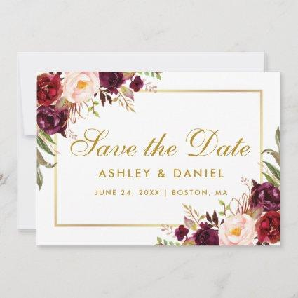 Gold  Save The Date Floral Burgundy
