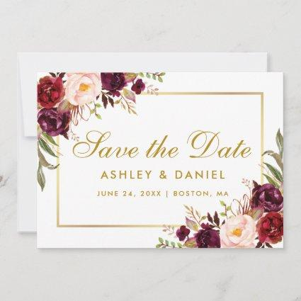 Gold  Save The Date Floral Burgundy BB