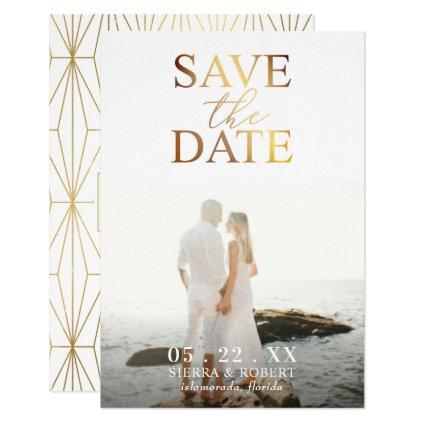 Gold Save the Date Wedding Announcement