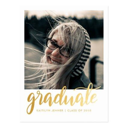 Gold Script Graduation Party | Save The Date Photo Cards