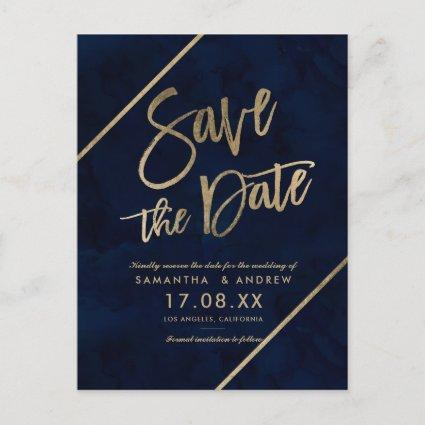 Gold script navy blue watercolor save the date 2 announcement
