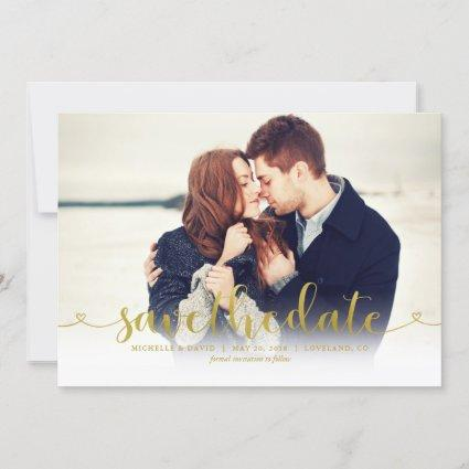 Gold Script Photo Wedding Save the Date