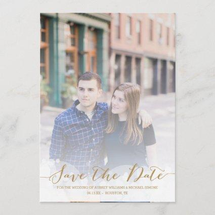 Gold Script Wedding Save the Date