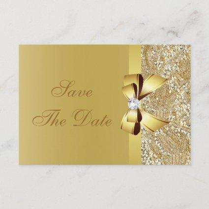 Gold Sequins, Bow & Diamond Save the Date Wedding