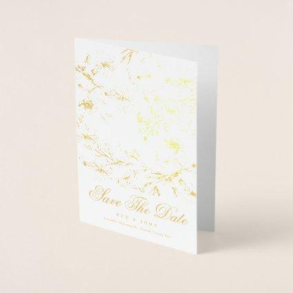 Gold Sketched Floral Save The Date Foil Card