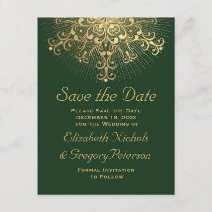 Gold snowflake green winter wedding Save the Date