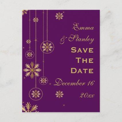 Gold snowflake purple winter wedding Save the Date Announcement