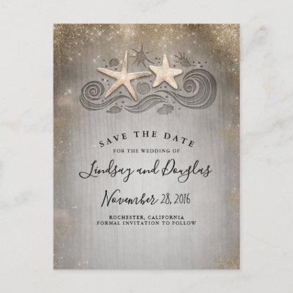 Gold Starfish Couple Beach Tropical Save the Date Announcement
