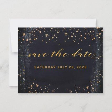 Gold Starry Night Wedding Save The Date Invitation