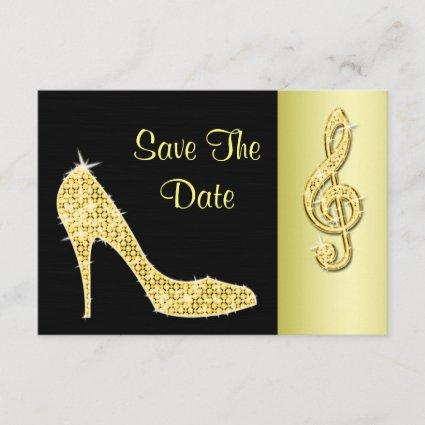 Gold Stiletto & Treble Cleft 50th Save The Date
