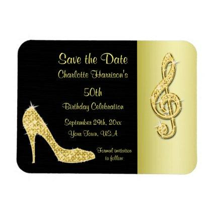 Gold Stiletto & Treble Cleft 50th Save The Date Magnet