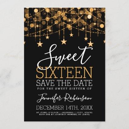 Gold Sweet 16 Sparkly String Lights Save Date Save The Date