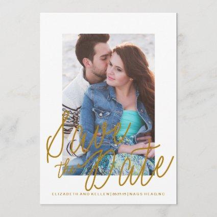 GOLD TEXT SAVE THE DATE Save the Date Card