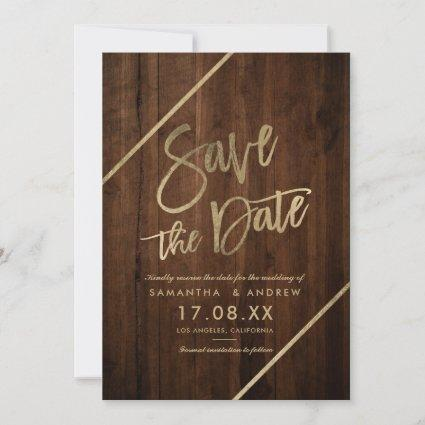 Gold typography brown rustic wood  save the date