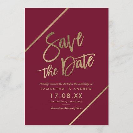 Gold typography burgundy marsala red save the date
