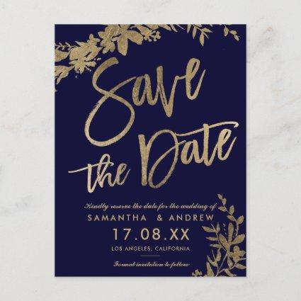 Gold typography floral navy blue save the date announcement