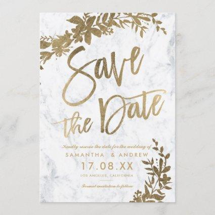Gold typography floral white marble save the date