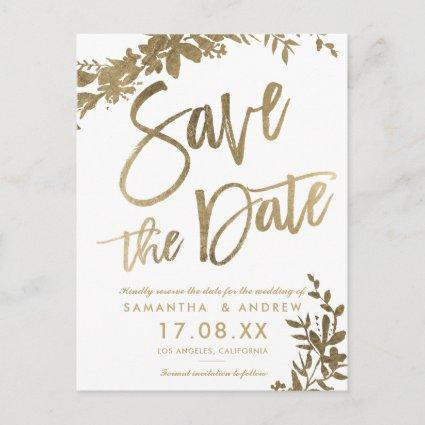 Gold typography floral white save the date Announcements Cards