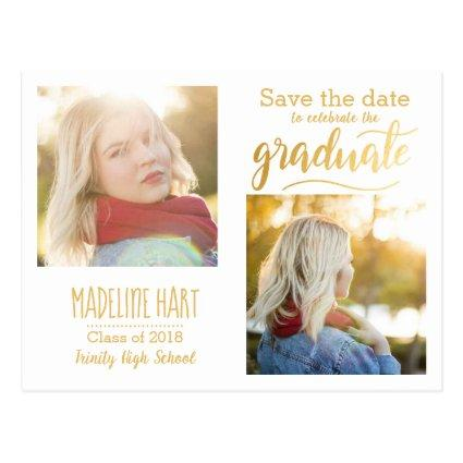 Gold Typography Graduate | Save The Date Two Photo Cards