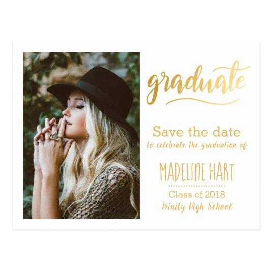 Gold Typography Graduation | Save The Date Photo Cards
