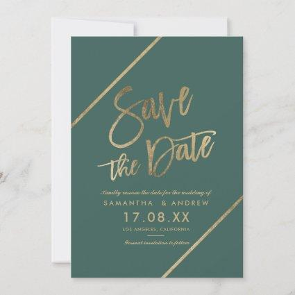 Gold typography greenery chic modern save the date