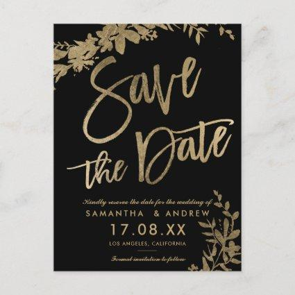 Gold typography leaf floral black save the date announcement