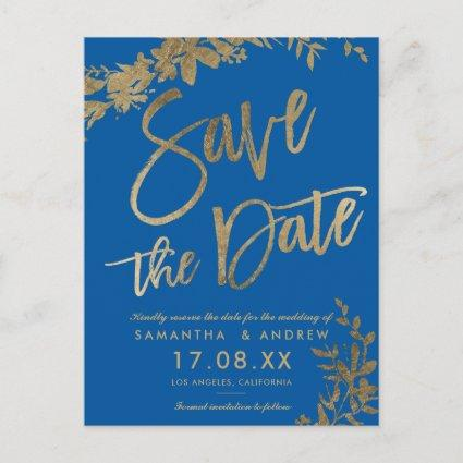 Gold typography leaf floral blue save the date Announcements Cards