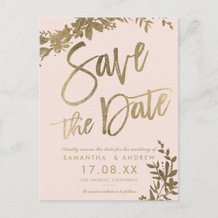 Gold typography leaf floral blush save the date announcement