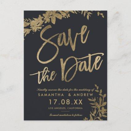 Gold typography leaf floral grey save the date Announcements Cards