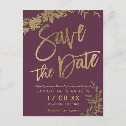 Gold typography leaf floral plum save the date announcement