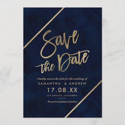 Gold typography navy blue watercolor save the date