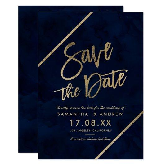 Gold typography navy blue watercolor save the date card