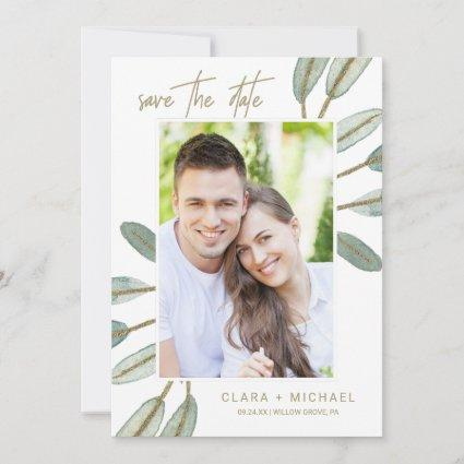 Gold Veined Eucalyptus Photo Save the Date Cards