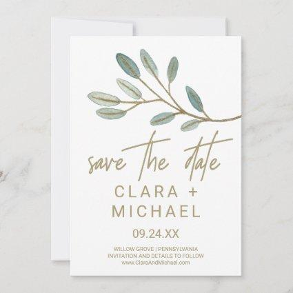 Gold Veined Eucalyptus Save the Date Card