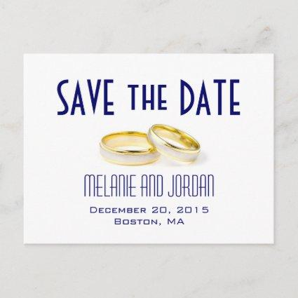 Gold Wedding Rings Blue Save the Date Cards