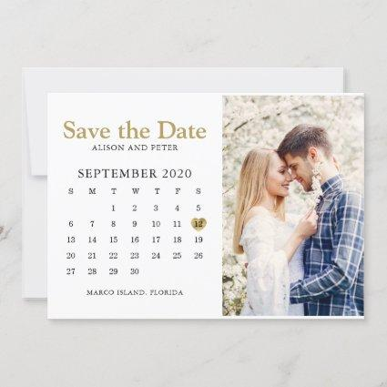 Gold Wedding Save the Date Calendar Photo