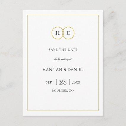 Gold White Elegant Modern Minimalist Save the Date Announcement