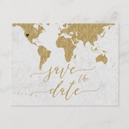 Gold World Map Destination Save the Date Announcement